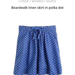 J Crew Boardwalk Blue Polka Dot Skirt